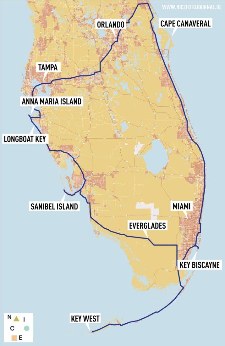 Karte Florida Roadtrip