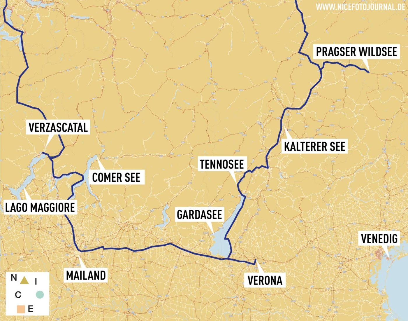 Karte Italien Rundreise